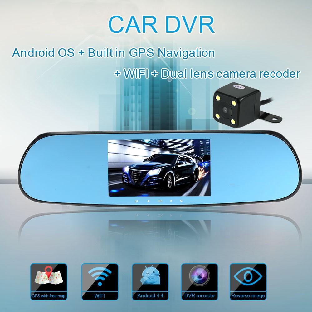 "5/"" HD Android Smart Car GPS Navigation Rear View Mirror DVR Dual Lens Camera"